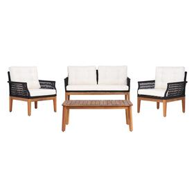 Winslo 4pc Living Set - Black Rope / Beige Cushion / Natural Legs