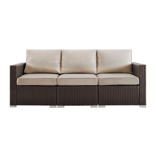 Woven Upholstered Outdoor Sofa in Rustic Brown / Beige