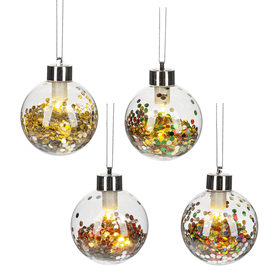 Light Up Ball Ornaments (12 pc. ppk.)