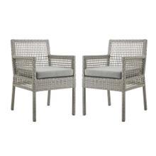 Aura Dining Armchair Outdoor Patio Wicker Rattan Set of 2 in Gray Gray