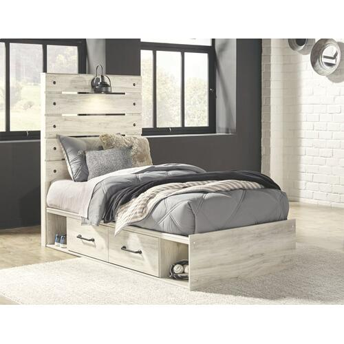 Twin Panel Bed With 4 Storage Drawers With Dresser