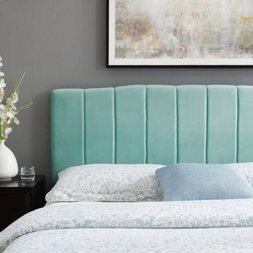 Camilla Channel Tufted King/California King Performance Velvet Headboard in Mint
