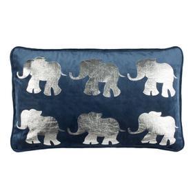 Talin Elephant Pillow - Dark Blue/silver