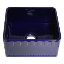 """See Details - Reversible Series 20"""" fireclay kitchen sink with Castlehaus design front apron - Sapphire Blue"""