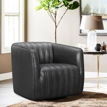 See Details - Aries Pewter Genuine Leather Swivel Barrel Chair