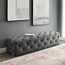 "Amour 72"" Tufted Button Entryway Performance Velvet Bench in Gray"
