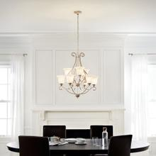 """Camerena 34.5"""" 9 Light Two Tier Chandelier with White Scavo Glass Brushed Nickel"""