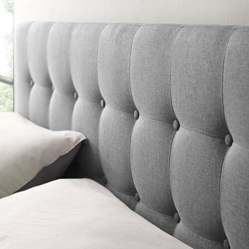Emily King Upholstered Fabric Headboard in Gray