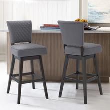 """Armen Living Gia 30"""" Bar Height Barstool in Espresso Finish and Grey Fabric"""