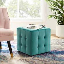 Contour Tufted Button Cube Performance Velvet Ottoman in Teal