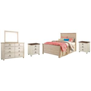 Full Panel Bed With 2 Storage Drawers With Mirrored Dresser and 2 Nightstands