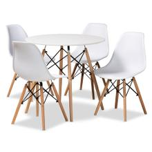 See Details - Baxton Studio Jaspen Modern and Contemporary White Finished Polypropylene Plastic and Oak Brown Finished Wood 5-Piece Dining Set