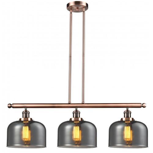 213-AC-G73 - LARGE GLASS BELL 3 LIGHT ISLAND CHANDELIER