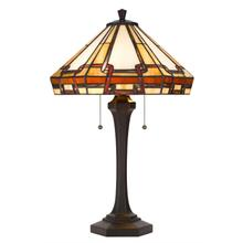 60W x 2 Tiffany table lamp with pull chain switch with resin lamp body