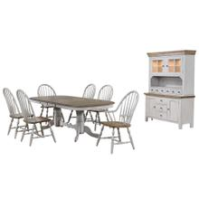 DLU-CG4296-30AGOBH8  8 Piece Double Pedestal Extendable Dining Table Set  2 Arm Chairs  Lighted China Cabinet  Distressed Gray and Brown Wood