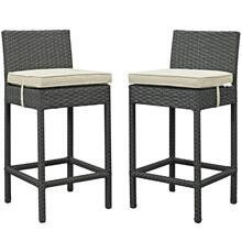 Sojourn 2 Piece Outdoor Patio Sunbrella® Pub Set in Antique Canvas Beige