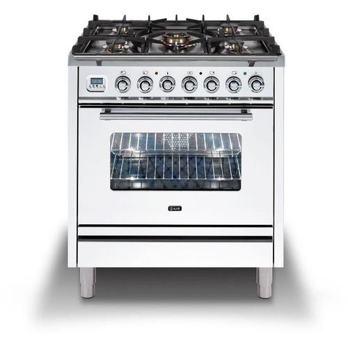 Product Image - Professional Plus 30 Inch Dual Fuel Natural Gas Freestanding Range in White with Chrome Trim