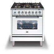 Professional Plus 30 Inch Dual Fuel Natural Gas Freestanding Range in White with Chrome Trim