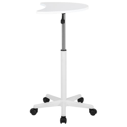 Flash Furniture - White Sit to Stand Mobile Laptop Computer Desk