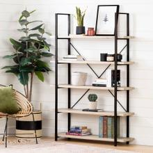 5 Fixed Shelves - Industrial Shelving Unit - Oak Beige