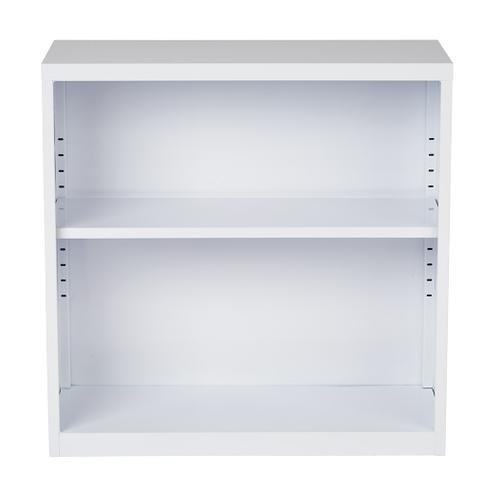 Metal Bookcase In White Finish, Ships Fully Assembled.