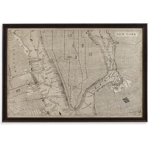 Bassett Mirror Company - Vintage Map of New York Wall Art