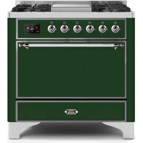 Product Image - Majestic II 36 Inch Dual Fuel Liquid Propane Freestanding Range in Emerald Green with Chrome Trim