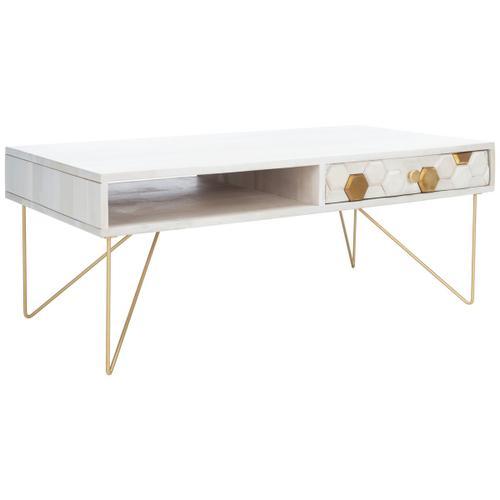 Safavieh - Raveena Coffee Table - White Wash / Brass