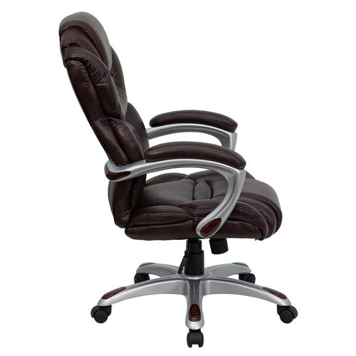Gallery - High Back Brown LeatherSoft Executive Swivel Ergonomic Office Chair with Arms