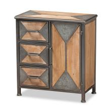 See Details - Baxton Studio Laurel Rustic Industrial Antique Grey Finished Metal and Whitewashed Oak Brown Finished Wood 3-Drawer Accent Storage Cabinet