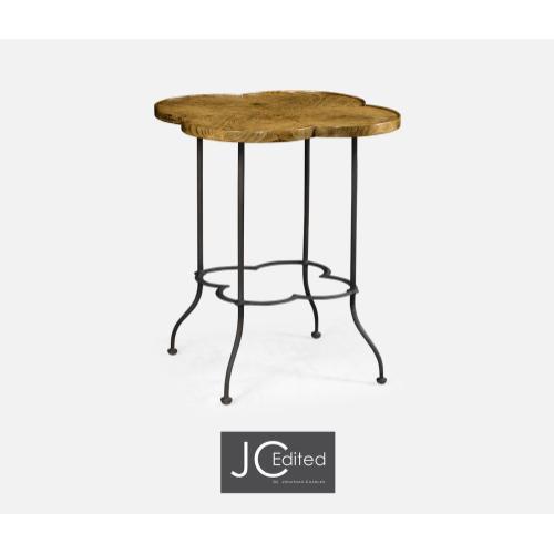 Quatrefoil Light Brown Chestnut Lamp Table
