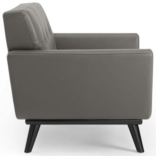 Engage Top-Grain Leather Living Room Lounge Accent Armchair in Gray