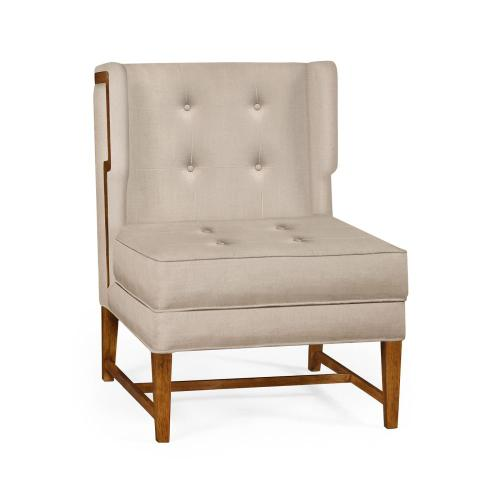 Winged occasional chair upholstered in Mazo