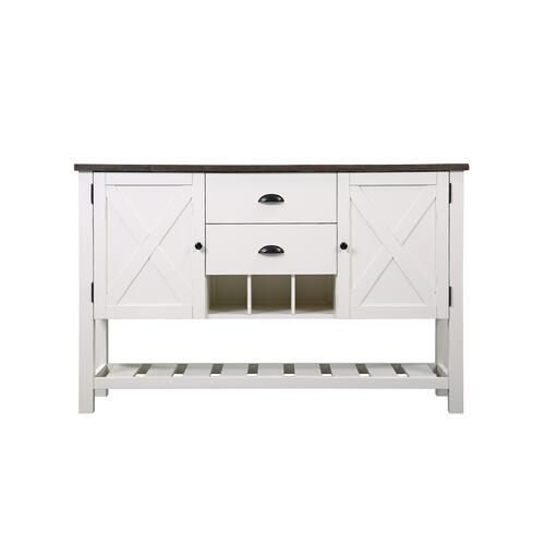 Mountain Retreat 2-drawer Server, Dark Mocha & Antique White D601-50-09