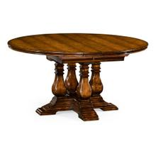 """48"""" Country Walnut Round Extending Dining Table"""