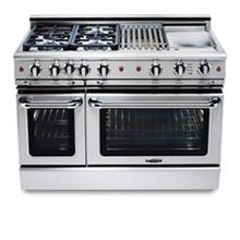 "48"" four burner manual-clean gas range + convection oven w/ 12"" Tru-Q™ + 12"" ss Thermo-Griddle™ - LP"
