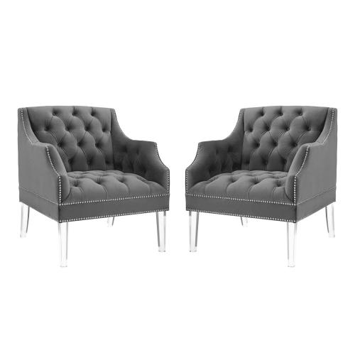Proverbial Armchair Performance Velvet Set of 2 in Gray