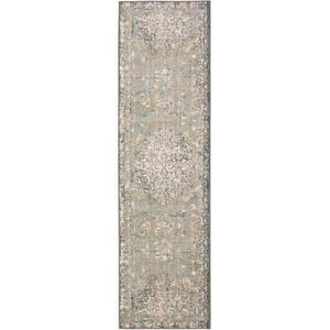 """Titanium Floret Seaglass 2' 1""""x7' 10"""" Runner"""