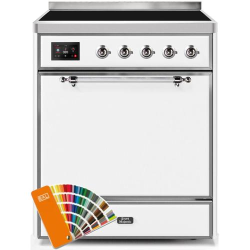 Majestic II 30 Inch Electric Freestanding Range in Custom RAL Color with Chrome Trim