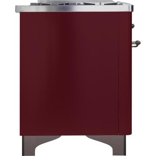 Gallery - Majestic II 36 Inch Dual Fuel Liquid Propane Freestanding Range in Burgundy with Bronze Trim