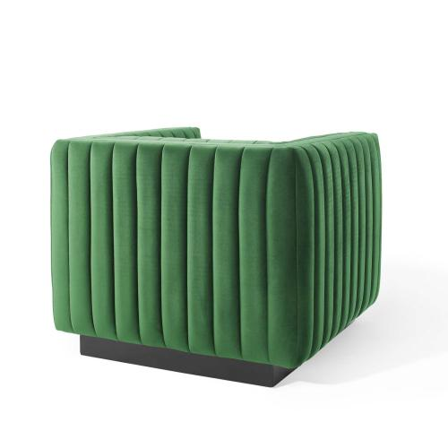 Modway - Conjure Channel Tufted Performance Velvet Accent Armchair in Emerald