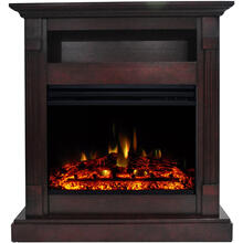 See Details - Cambridge Sienna 34-In. Electric Fireplace Heater with Mahogany Mantel, Enhanced Log Display, Multi-Color Flames, and Remote Control, CAM3437-1MAHLG3