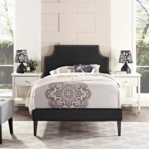 Corene Twin Vinyl Platform Bed with Squared Tapered Legs in Black