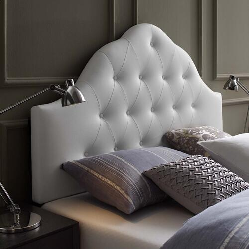 Sovereign Queen Upholstered Vinyl Headboard in White