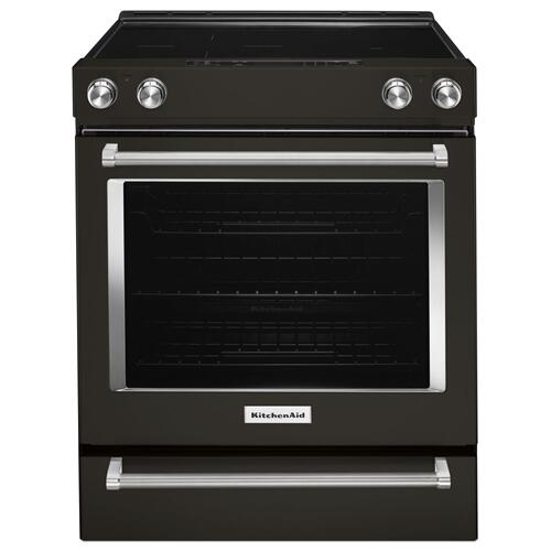 30-Inch 5-Element Electric Convection Front Control Range - Black Stainless Steel with PrintShield™ Finish
