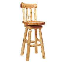 "Counter Stool with back - 24"" high - Natural Cedar - Wood Seat"
