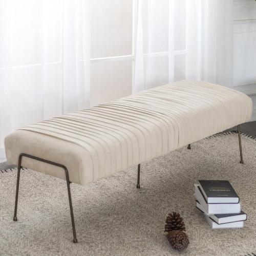 Merritt Velvet Fabric Pleated Bench, Dulce Sand