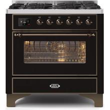 Majestic II 36 Inch Dual Fuel Liquid Propane Freestanding Range in Glossy Black with Bronze Trim