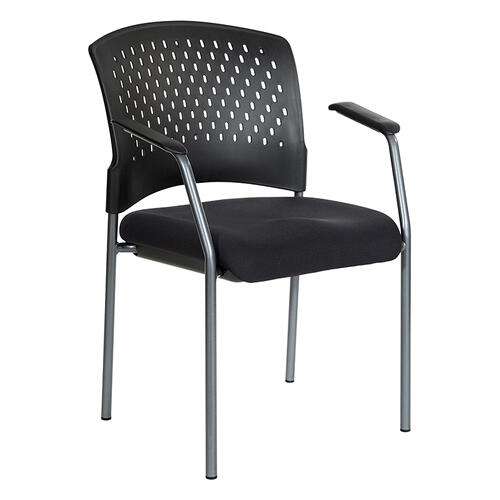 Titanium Finish Visitors Chair With Arms and Ventilated Plastic Wrap Around Back