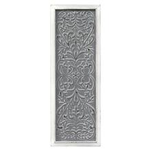 """12"""" X 1.25"""" X 34"""" Distressed White Metal Embossed Panel Wall Decor"""